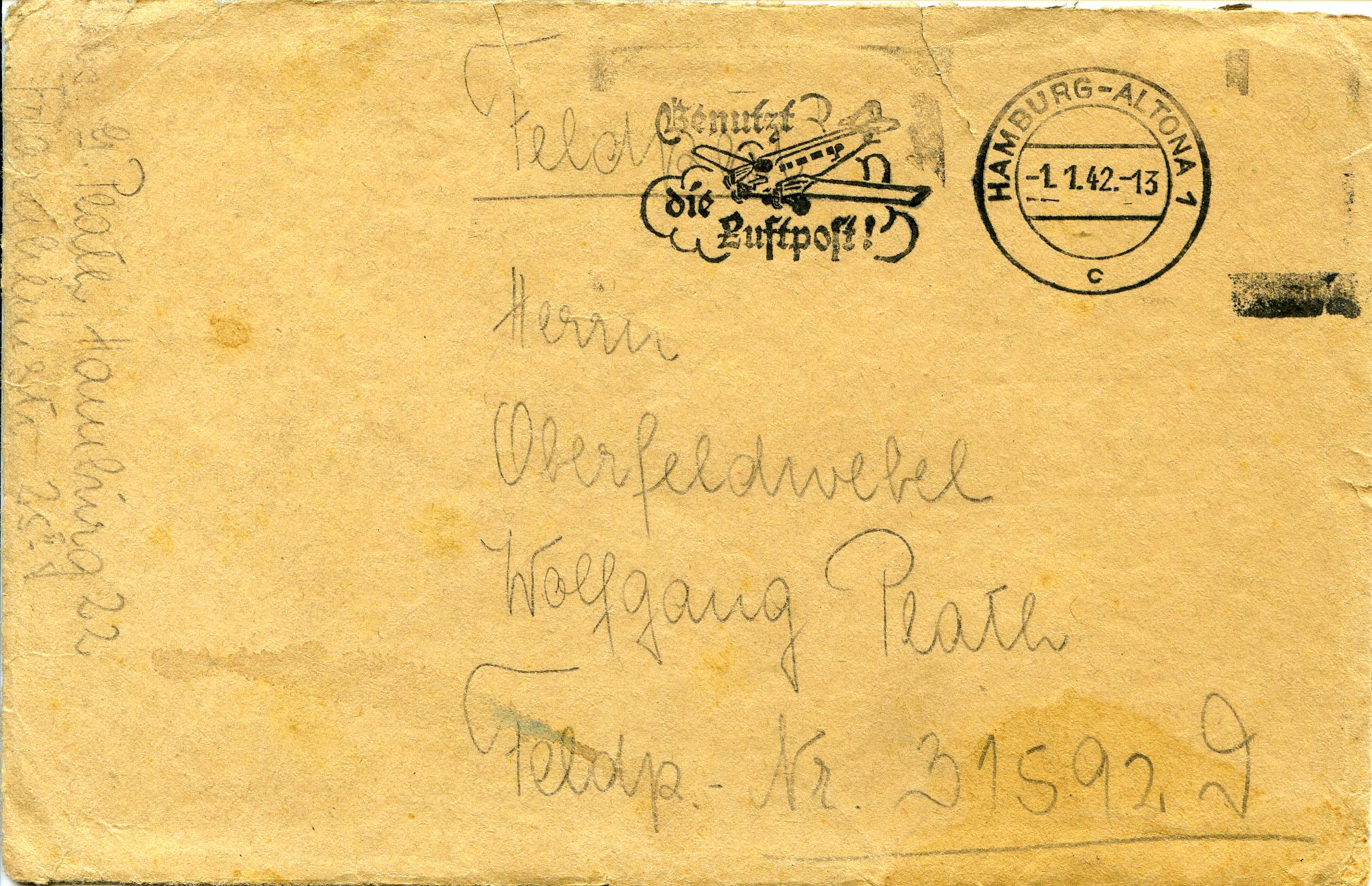 Конверт  с письмом  В. Плату от его жены Инге.   Гамбург. 1941 г.