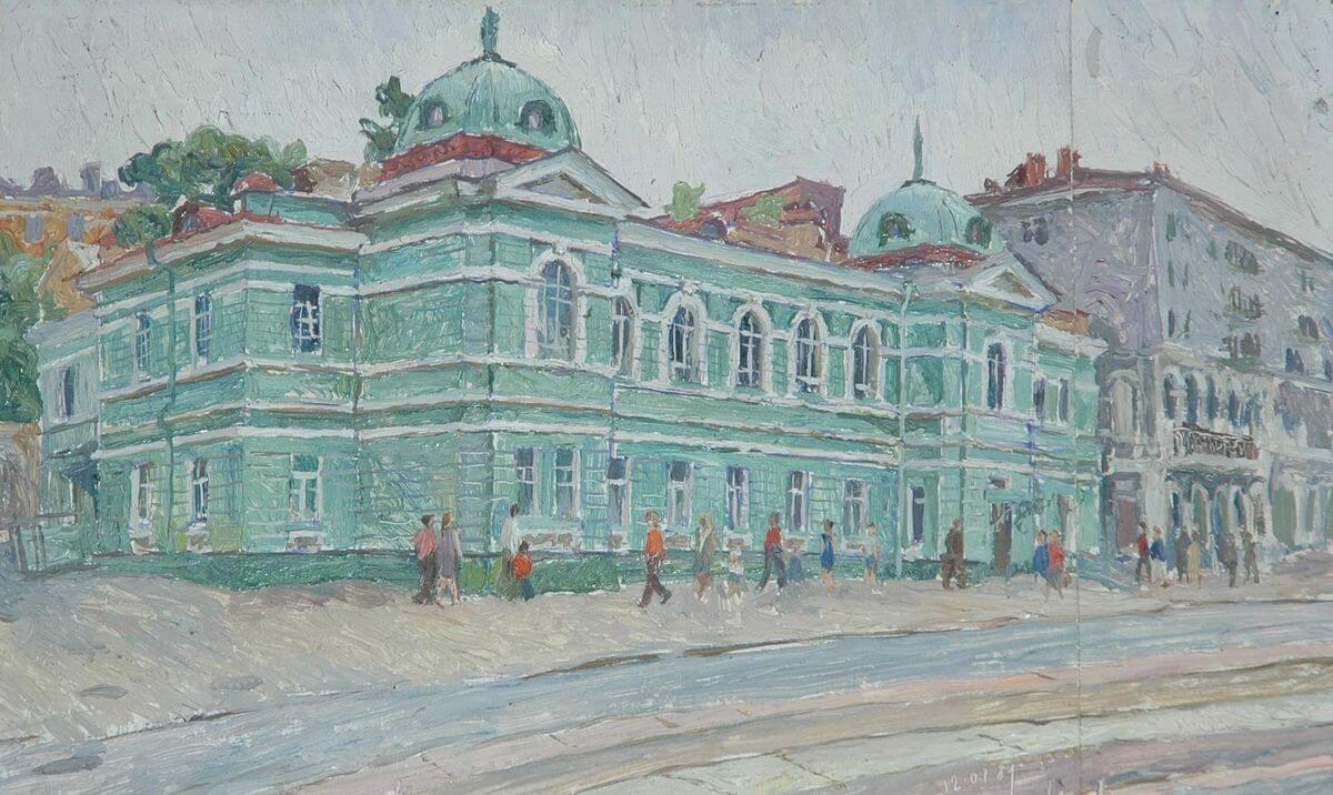 В.А. Камовский. Госбанк. 1981. Оргалит, масло. 29х46