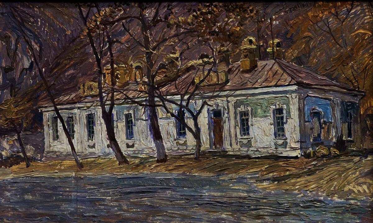 В.А. Камовский. Дом на Снеговой. Оргалит, масло. 1984. 29х49