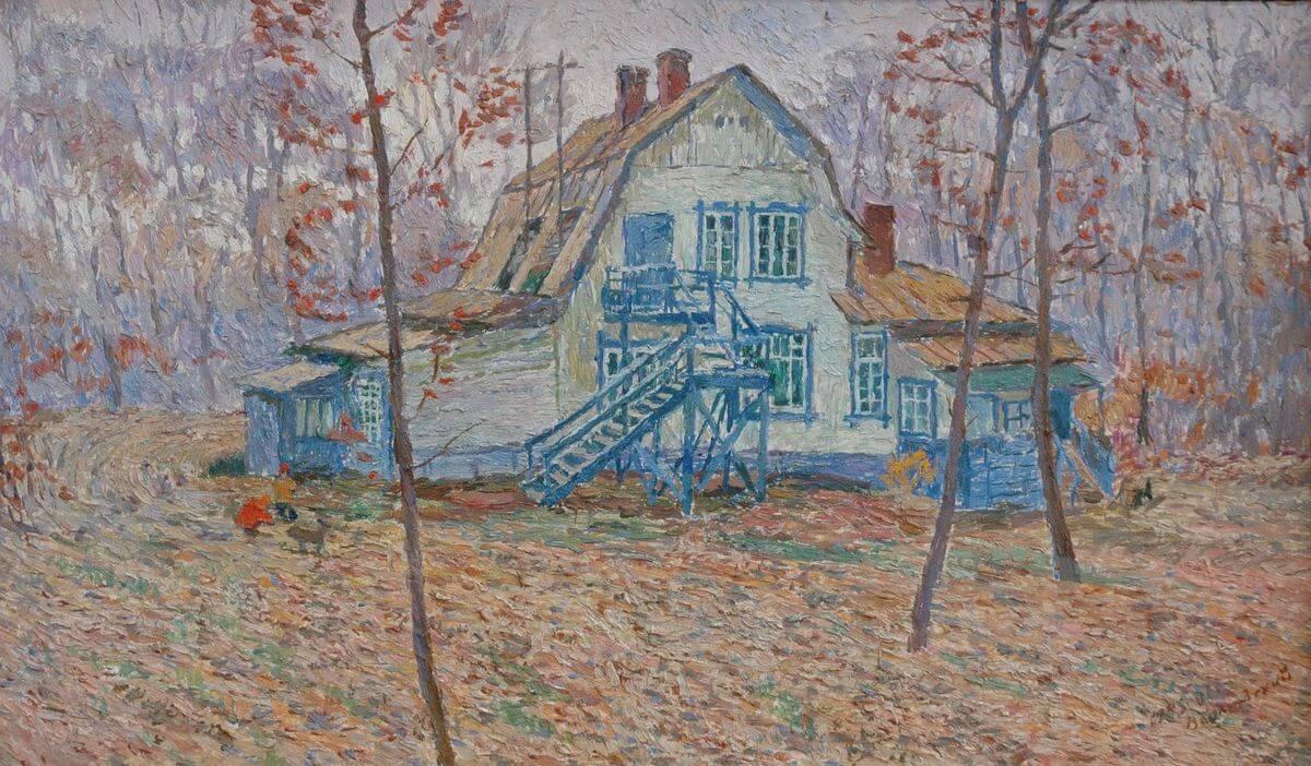 В.А. Камовский. Дача. 1985–1987. Оргалит, масло. 41х67