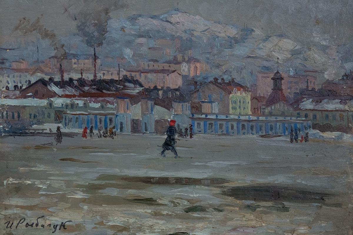 И.В. Рыбачук. Вид на Владивосток со стороны стадиона «Динамо». 1946. Холст, масло. 28.2х37.