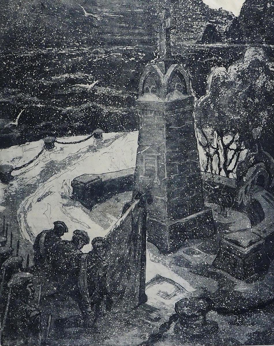 Б.Ф. Лобас. У памятника «Варягу». 1983. Офорт. 64х59.