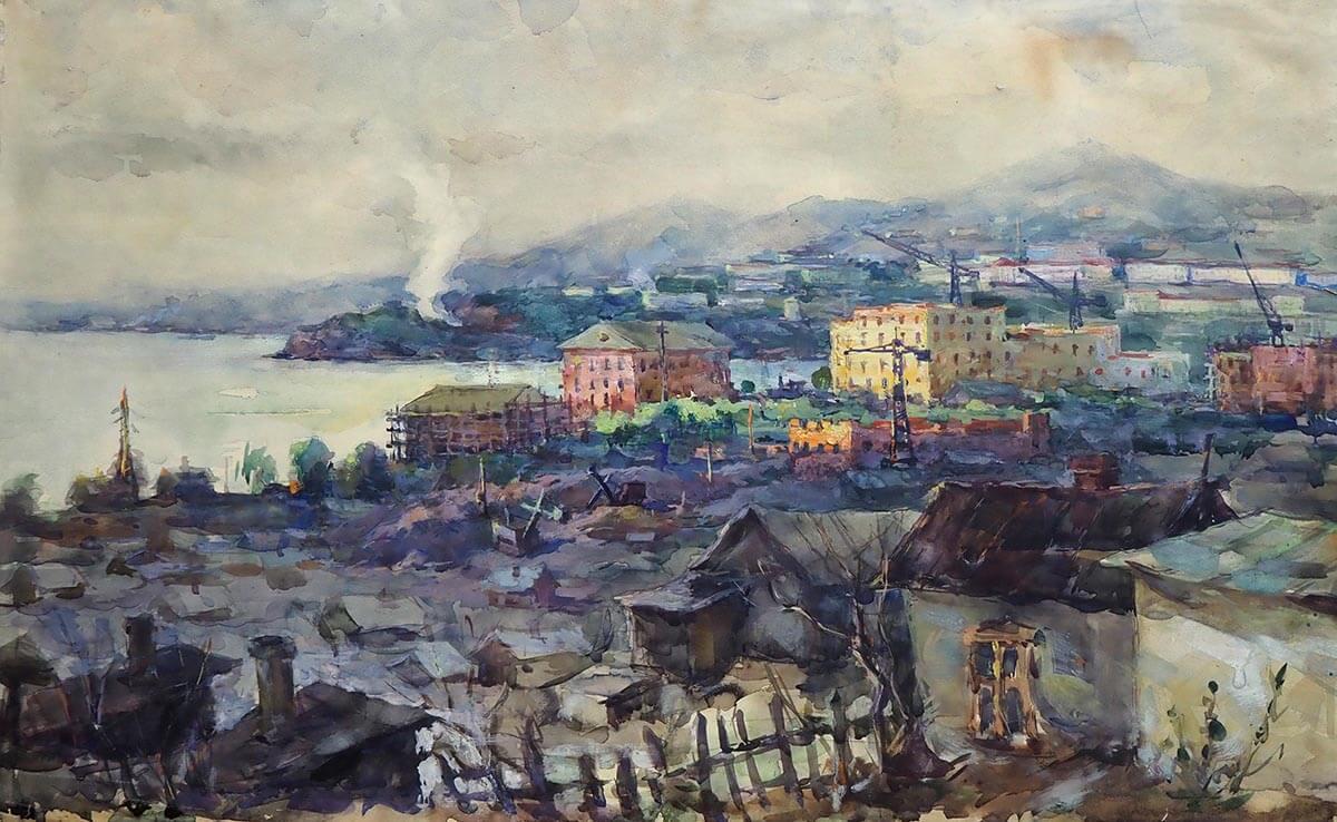 Б.Ф. Лобас. Корейская слобода. 1955. Бумага, акварель. 36х60.