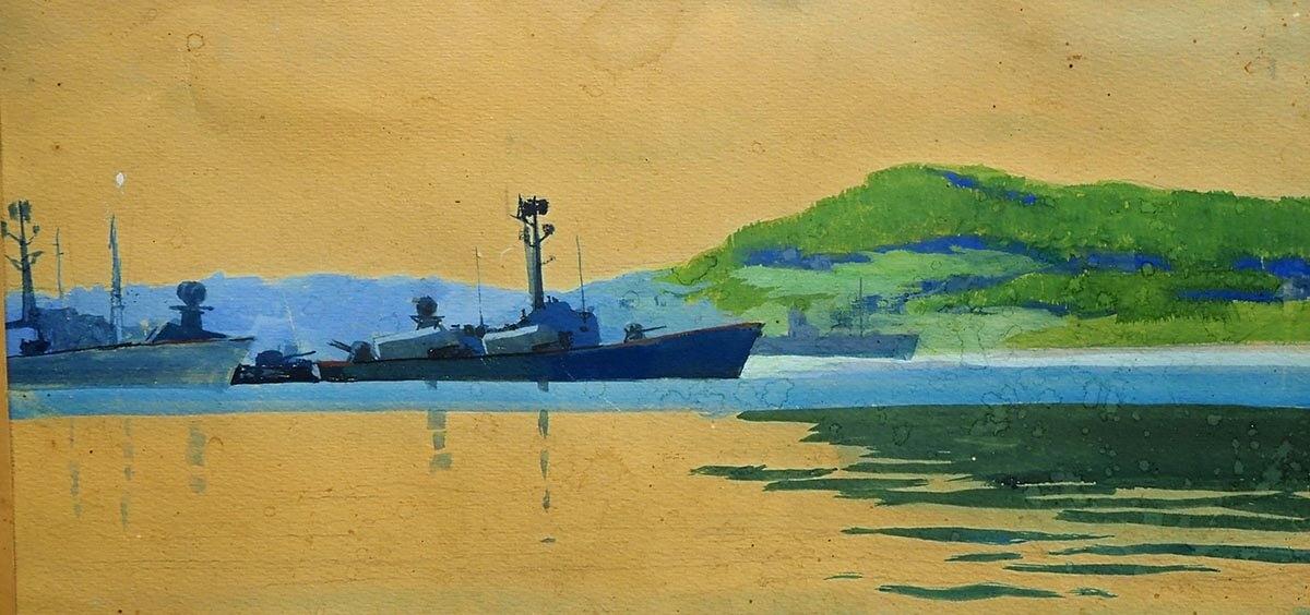 Б.Ф. Лобас. Пейзаж с военными кораблями. 1980. Бумага, акварель. 56х32.5.