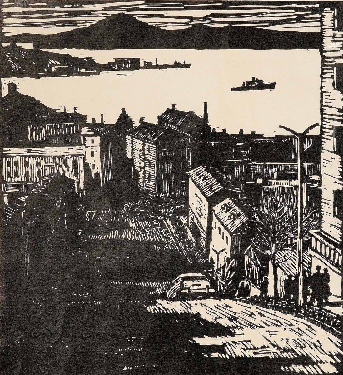 В.И. Герасименко. Улица Владивостока. 1950-е. Линогравюра. 62.5х51.