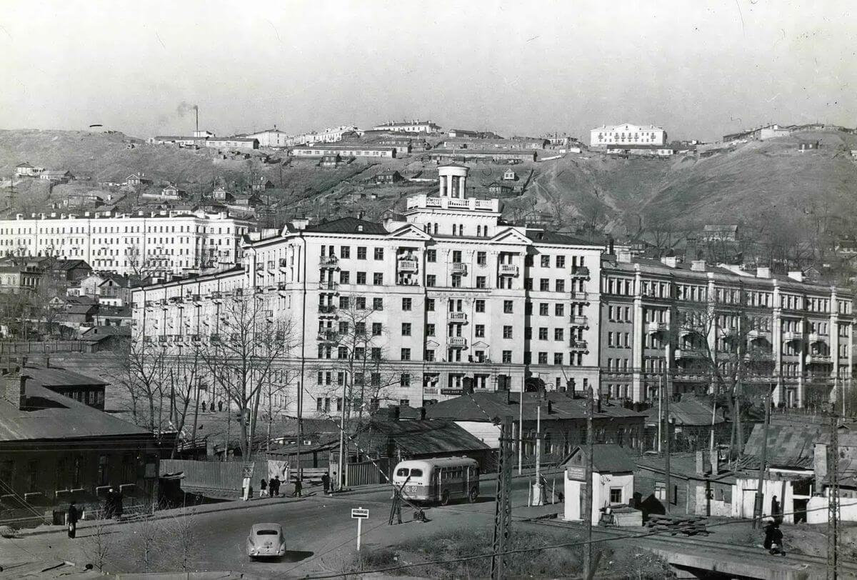 Строительство новых жилых домов по улице Луговая. 1959 год.