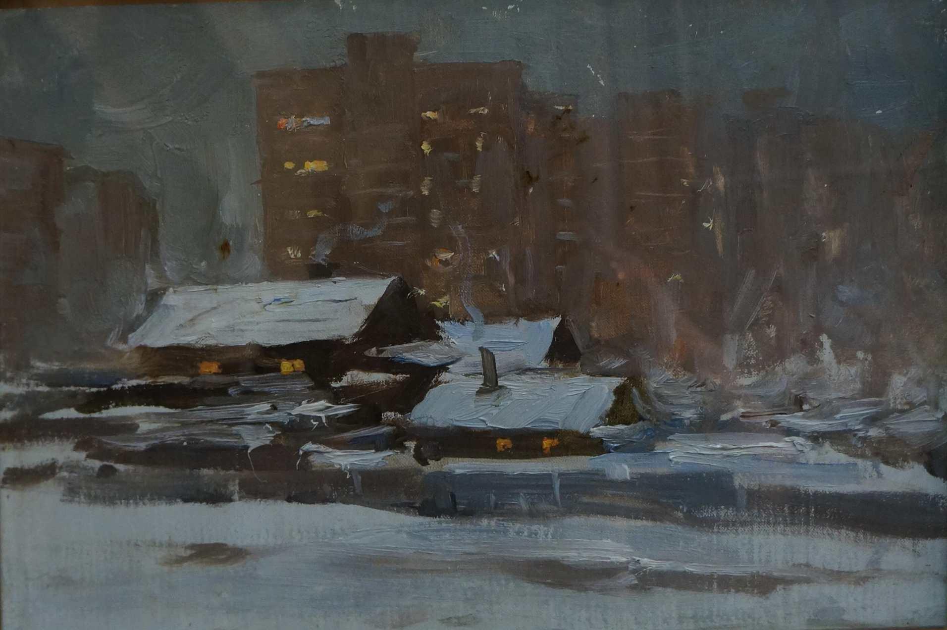 Бабанин Ф. Н. Городская окраина Владивостока. 1986. Картон, масло. 24х35