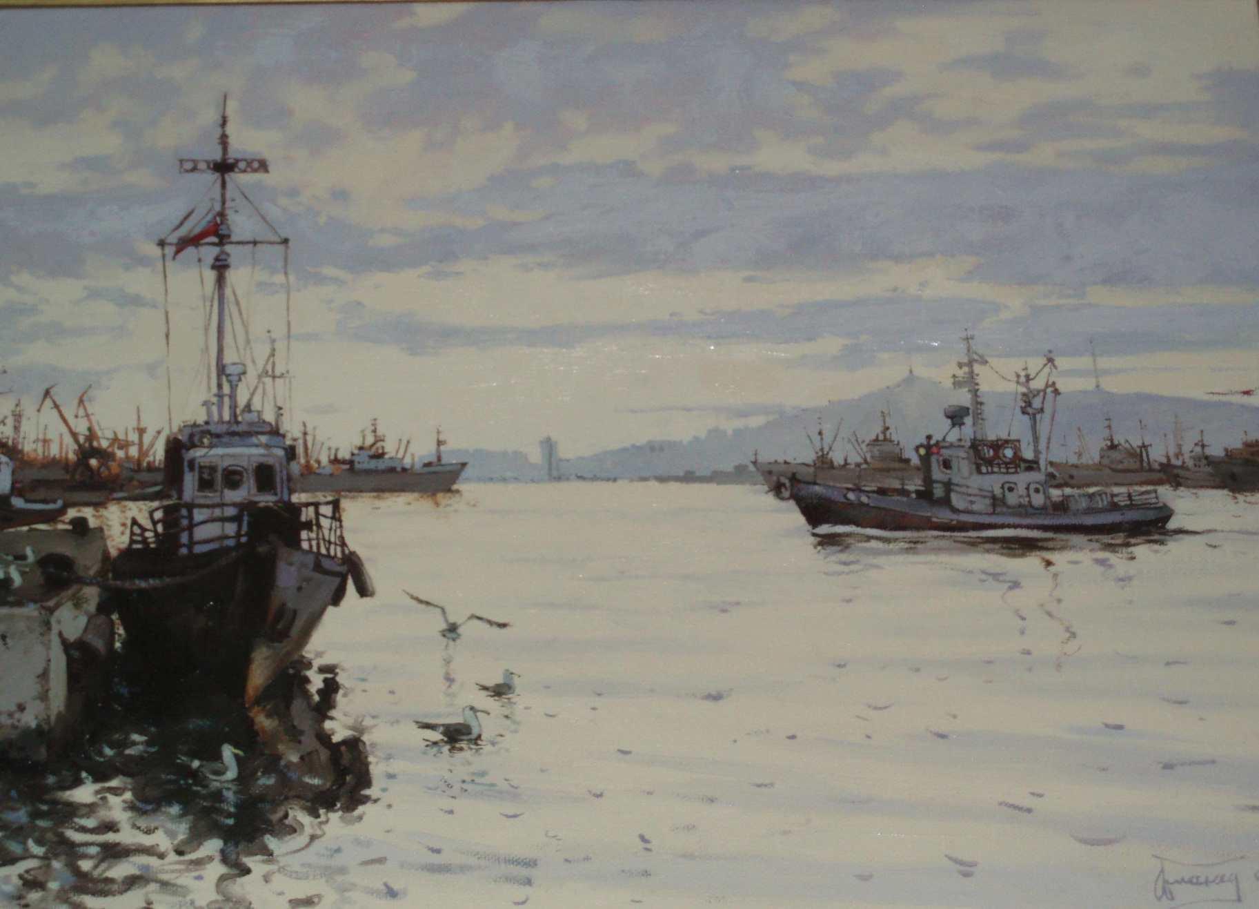 Обманец А. А. Владивосток. Вечер на бухте. 2003. Холст, масло. 60х80