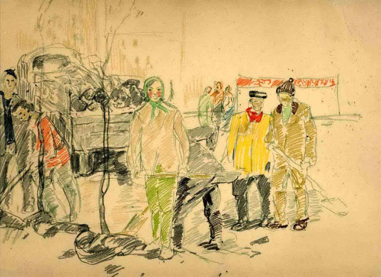 Телешов А. В. Улица  Русская. 17 апреля 1976 г. Бумага, смешанная техника.