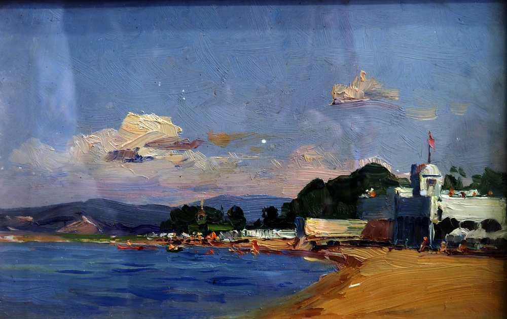 Бабанин Ф. Н. Океанская. Пляж. 1970. Картон, масло. 40х30