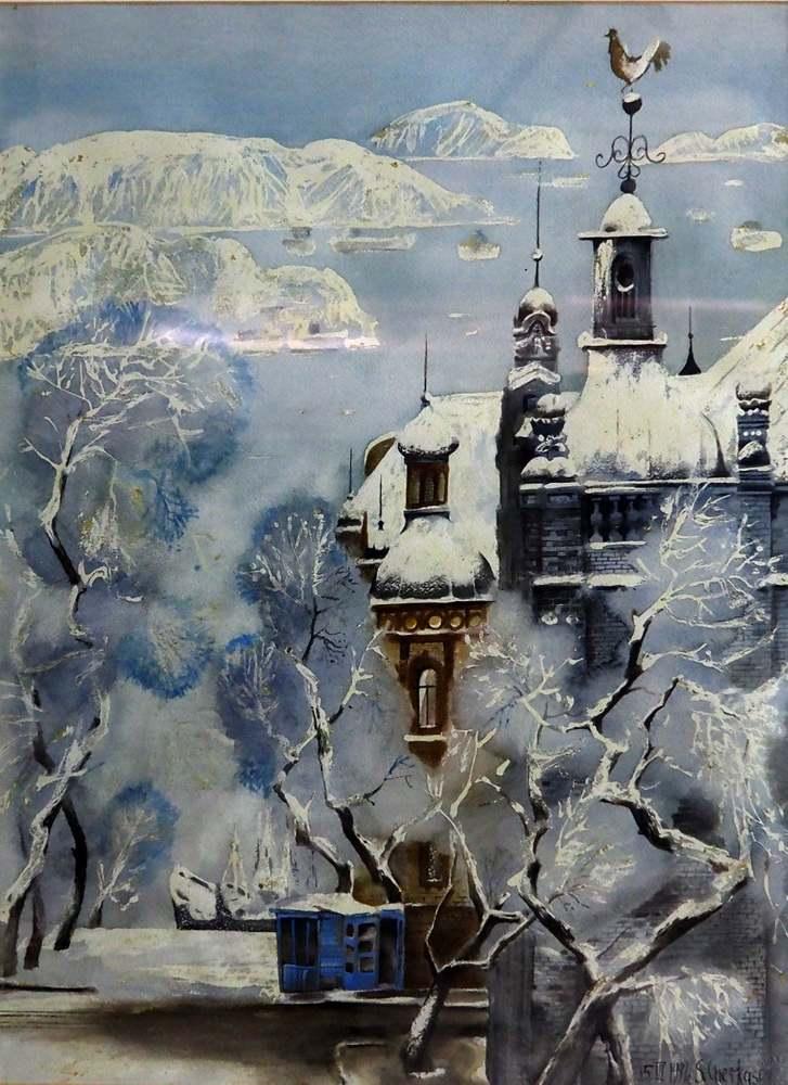 Черкасов С.М. Мокрый снег. ГУМ. 1990. Бумага, акварель. 47х36