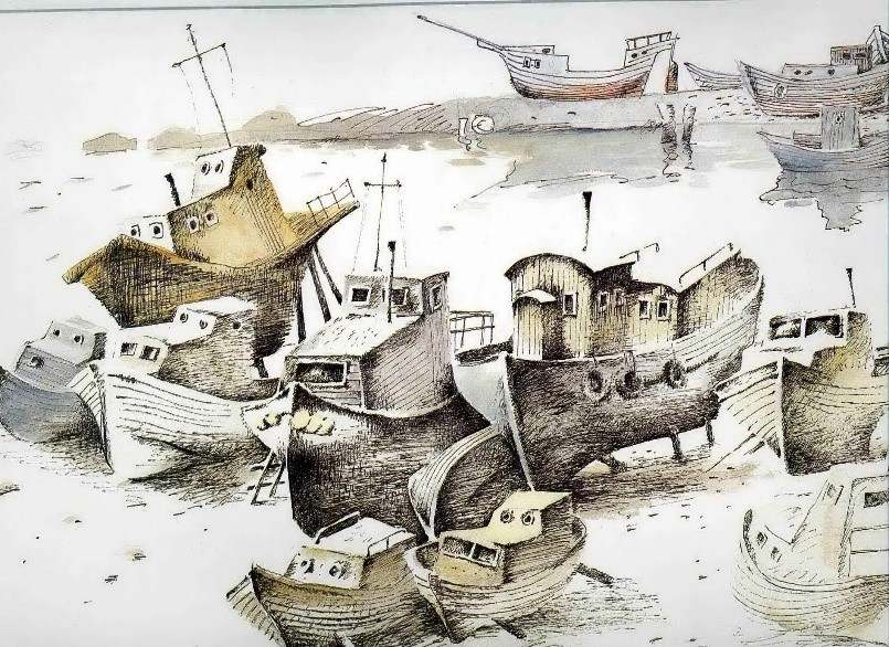 Черкасов С.М. Графический лист из серии «Старый Владивосток». Тихая гавань. 1989. Бумага, акварель. 52х36.5