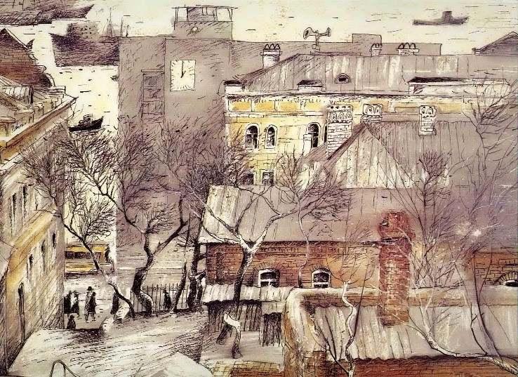 Черкасов С. М. Графический лист из серии «Старый Владивосток».  Старый город. 1989. Бумага, акварель. 52х36.5