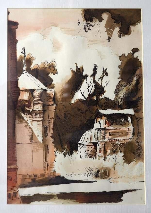 Черкасов С.М. Седанка. Церковь. 1990. Бумага, акварель. 1990. 29х41
