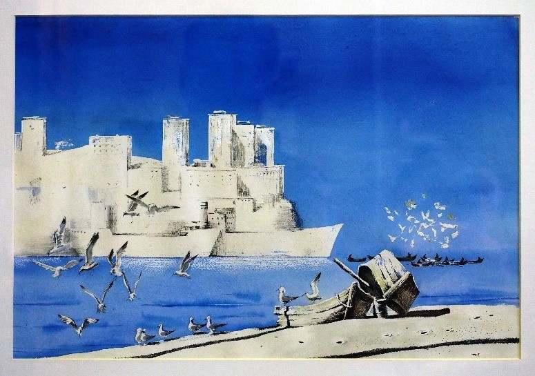 Черкасов С.М. Графический лист из серии «Старый Владивосток». 1989. Бумага, акварель. 52х36.5