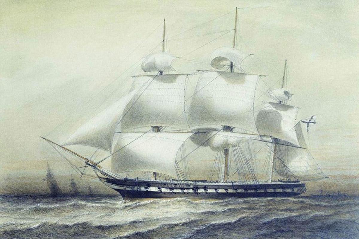 Фрегат «Паллада», русское судно, посетившее Японию в 1854 году.